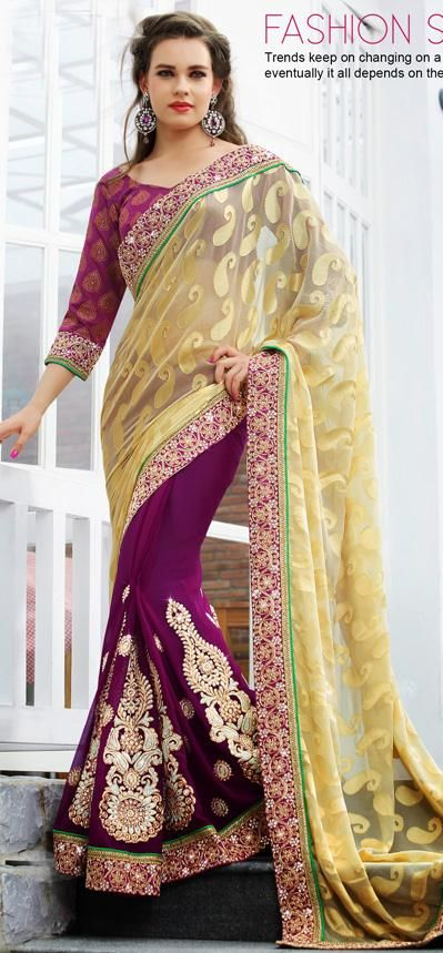$76.64 Cream and Purple A Line Embroidered Brasso Party Wear Saree 26236