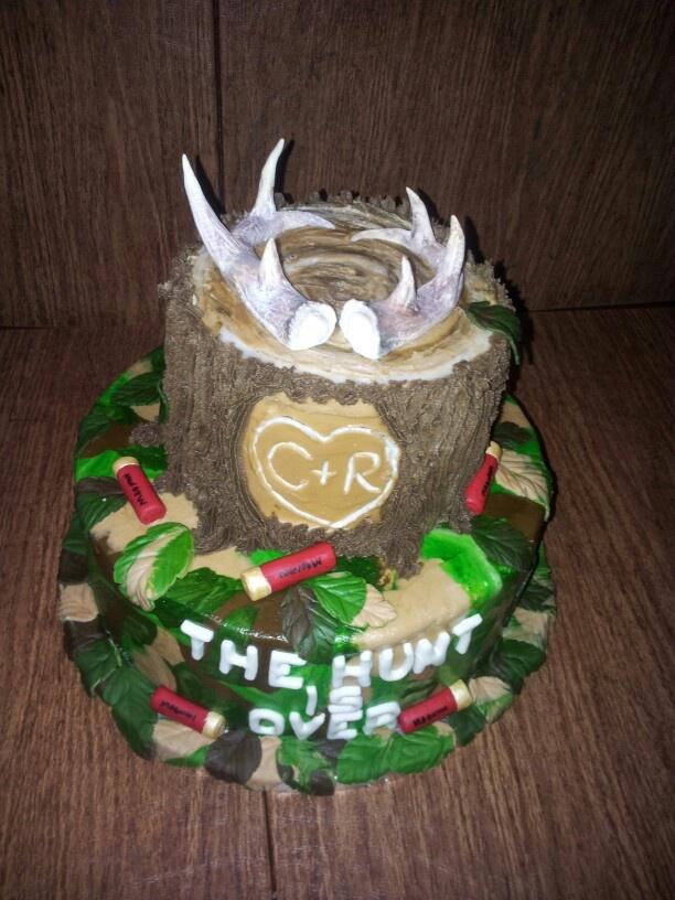 Hunting themed Grooms cake with gumpaste deer antlers