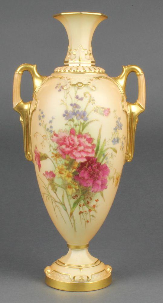 """Lot 1, A Royal Worcester blush porcelain 2 handled vase with floral sprays 13 1/2"""", sold for £160"""