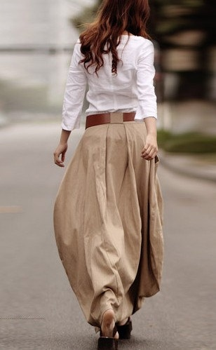 Khaki/ Navy Blue/ Light Purple Linen skirt women skirt fashon skirt Long skirt ST006
