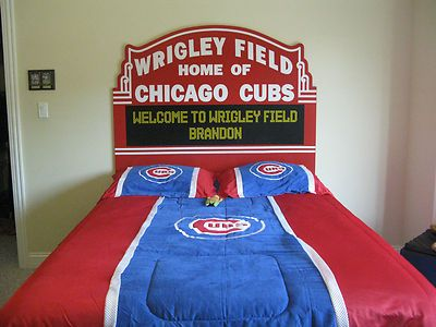 Chicago Cubs Bed Wrigley Field Marquee Headboard Full Size Head Board Queen RARE | eBay