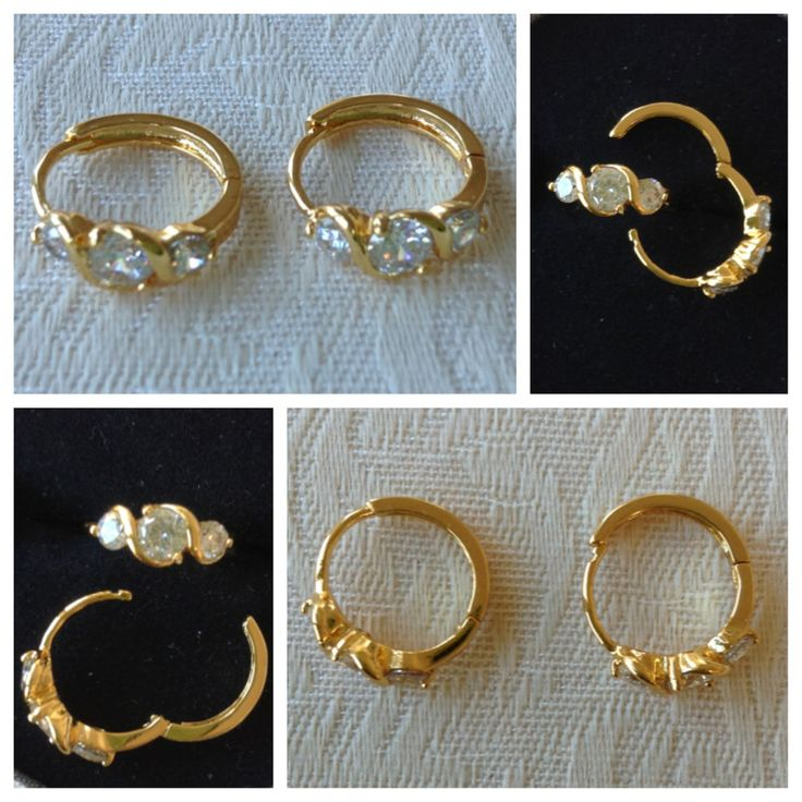 9K yellow gold-filled hoop earrings with CZ bling @ AUD$12.00 + postage or local pick up available.