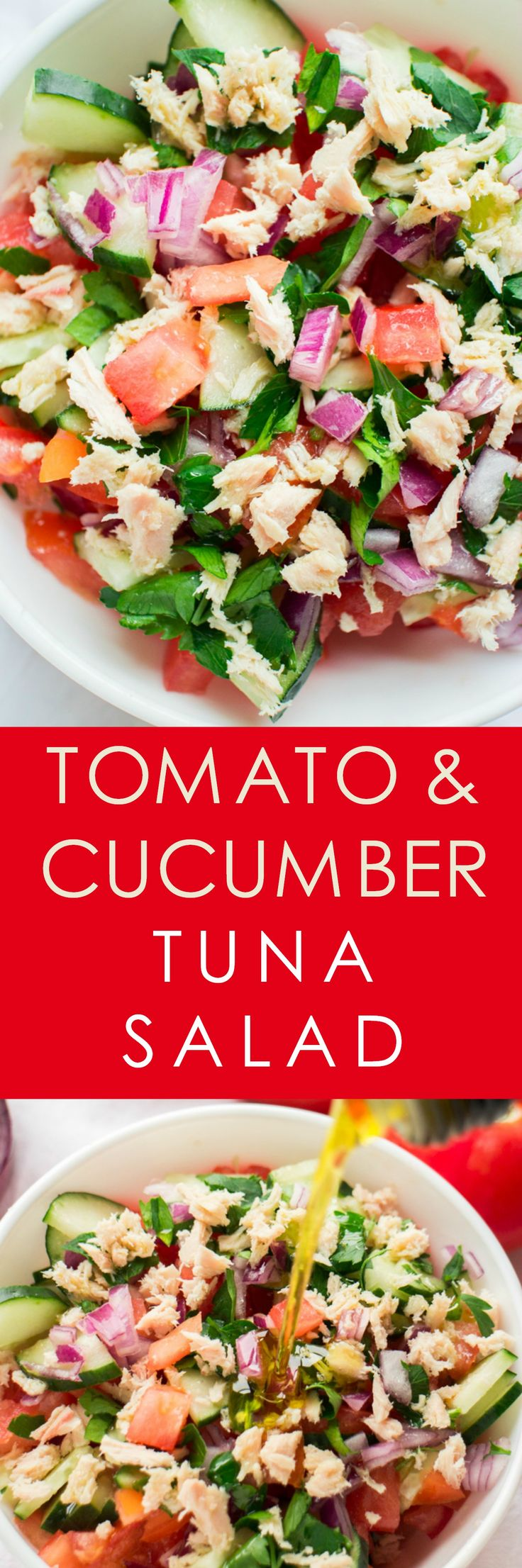HEALTHY Tomato Cucumber Tuna Salad with olive oil dressing! This easy salad recipe is a Summer favorite! I love using fresh tomatoes, cucumber and onions from the garden! It's completely vegan with no dairy!