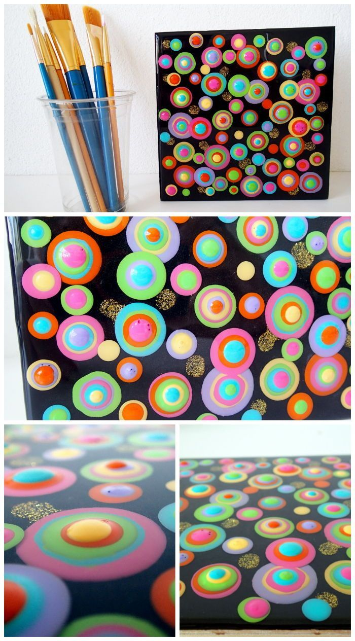 Fun Blob Or Circle Painting Idea Layers Of Paints Give A 3d Effect To This Painting And Layers Appear To Float Above Each Circle Painting Simple Art Painting
