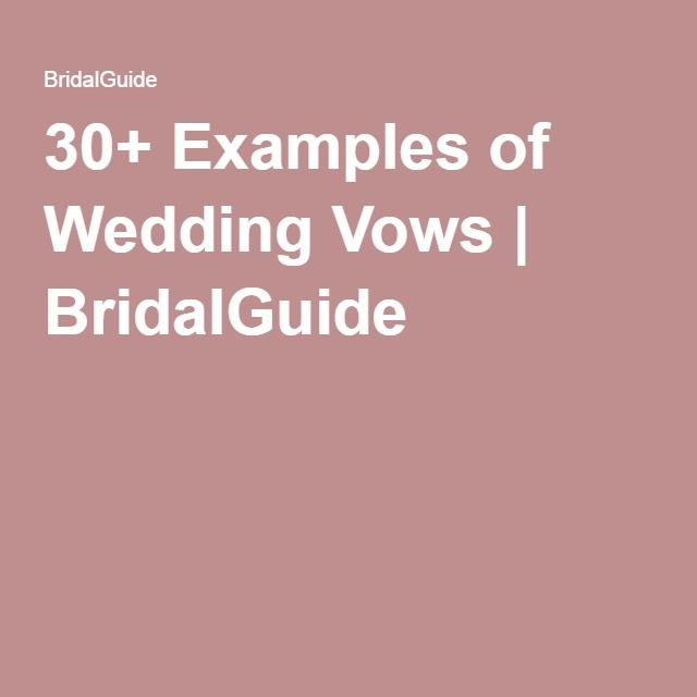 30+ Examples of Wedding Vows | BridalGuide