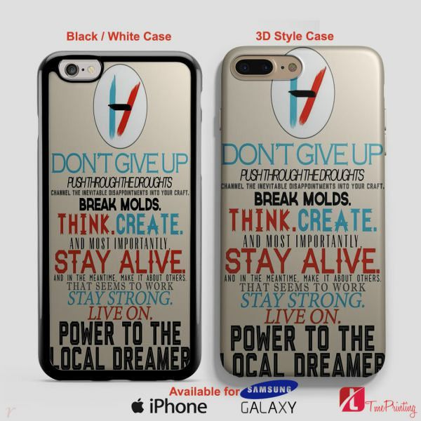 21 Pilots Band Quote Twenty One Pilots Lyric Quote - Personalized iPhone 7 Case, iPhone 6/6S Plus, 5 5S SE, 7S Plus, Samsung Galaxy S5 S6 S7 S8 Case, and Other