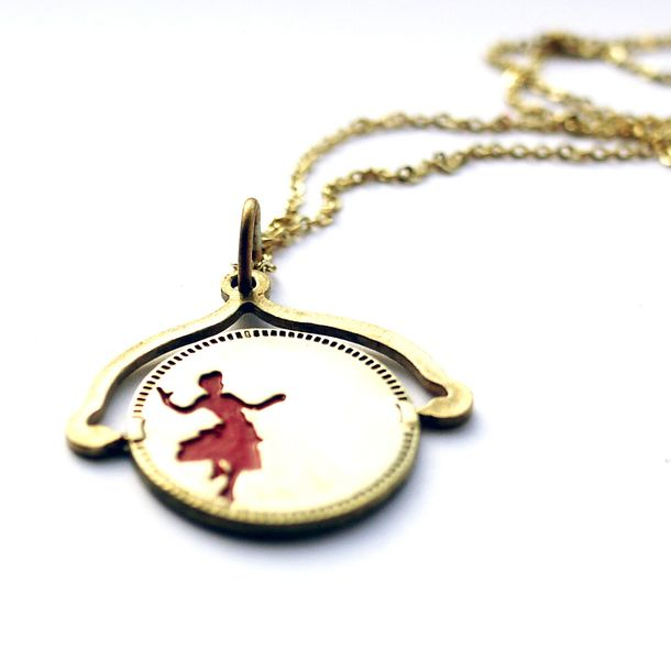 Dancing Couple Spin Off Necklace