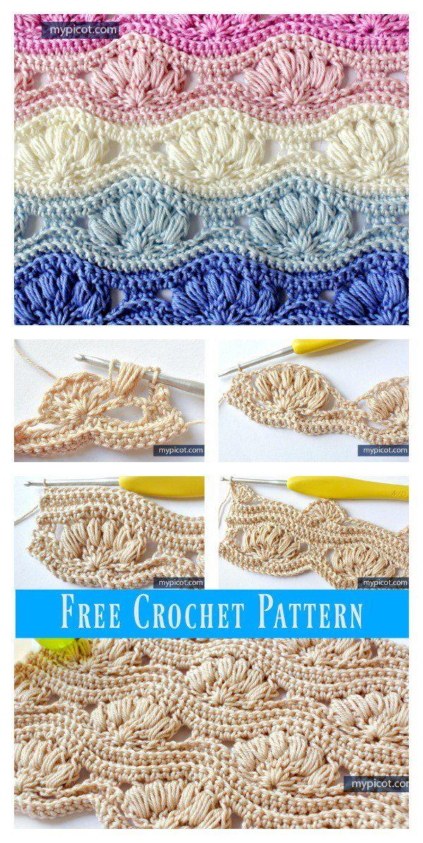 Shell Stitch Free Crochet Pattern #freecrochetpatterns