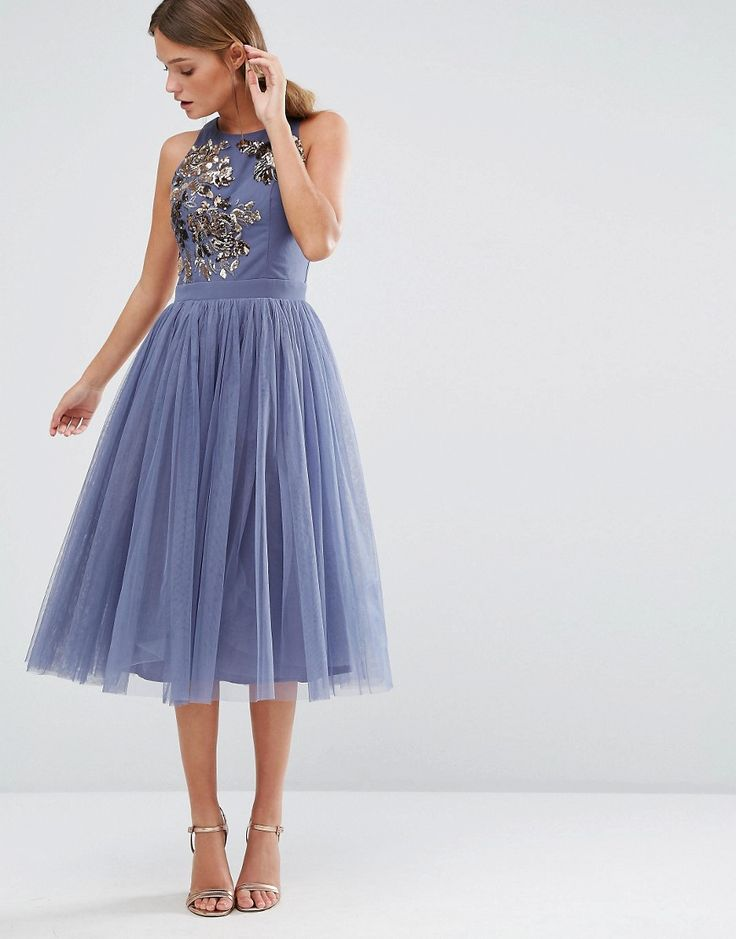 Image 4 of Little Mistress Embellished Midi Dress with Tulle Skirt                                                                                                                                                                                 More