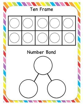 Ten frame and number bond on the same work mat great for all the different combinations of numbers, plus a double ten frame and number bond for numbers to 20 Free on TPT