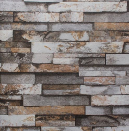 56 Sqf10m Roll Real Look Realistic Natural Rusty Grey Brick Stone Wallpaper Children Es Pinterest And