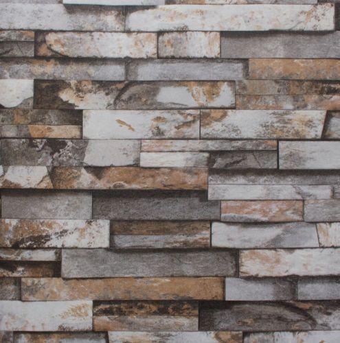 56 Sq Ft 10M Roll 3D Wallpaper Real Look Realistic Grey Brick Stone