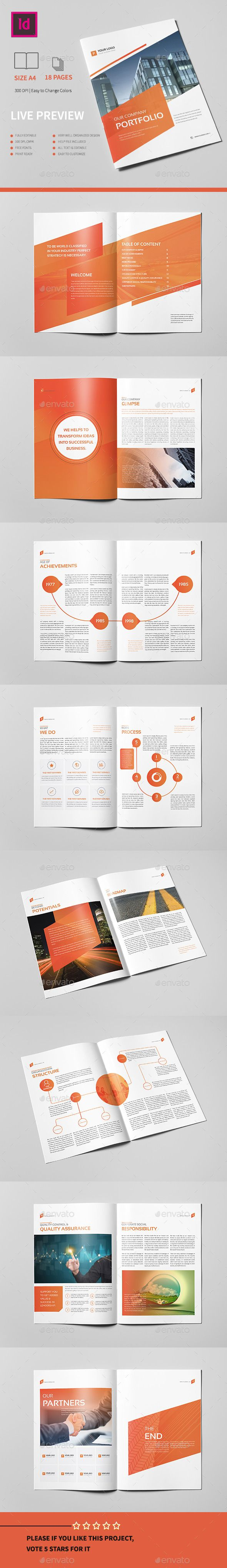 Corporate Portfolio Brochure 18 pages A4 Template InDesign INDD #design Download: http://graphicriver.net/item/corporate-portfolio-brochure-18-pages-a4-/13408064?ref=ksioks