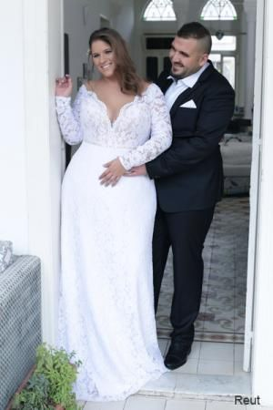 Reut | Studio Levana | Plus Size Wedding Dress | Long Sleeve Lace Wedding Dress | Plus Size Bride | All My Heart Bridal https://bellanblue.com
