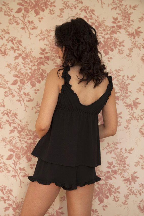 ef9e1136b8c Organic cotton   bamboo jersey babydoll short set lingerie
