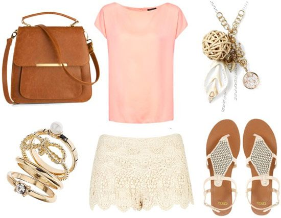 Lace shorts with pale pink top studded sandals stackable rings mahogany tote and charm necklace.