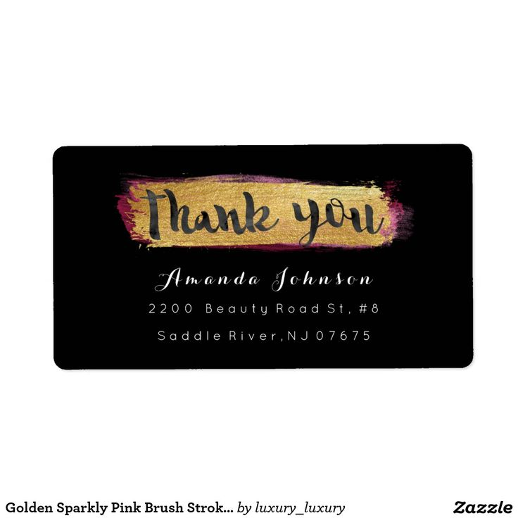 Golden Sparkly Xoxo Pink Brush Stroke Shipping Label