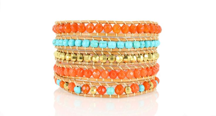 APACHE Wrap Bracelet by #Beautiz. Beautiful 5 layer handcrafted leather wrap bracelet. Jasper with Turquoise stones and golden beads. Stainless Steel and Nickel-Free Clasp. Shop here: http://www.beautiz.net/english/fashion-jewelry/bracelets/wrap-bracelets/apache-wrap-bracelet.html
