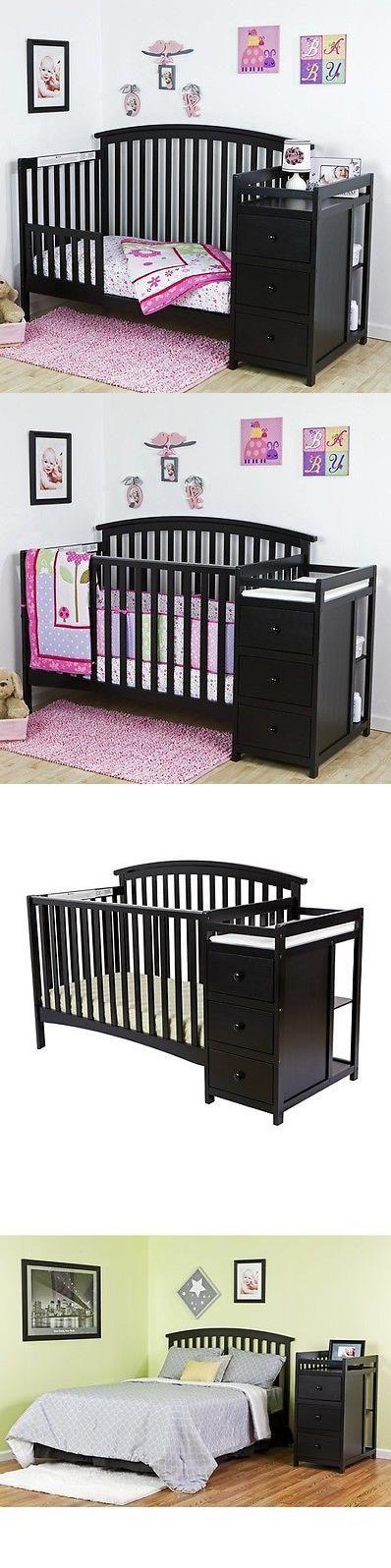 Baby Nursery: Convertible Crib Set Black 5-In-1 Changer Nursery Baby Toddler Bed Furniture BUY IT NOW ONLY: $285.99 #priceabateBabyNursery OR #priceabate