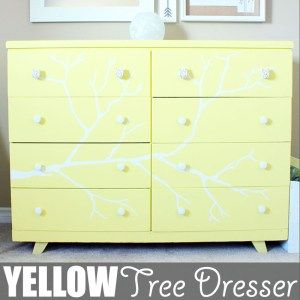 Yellow Tree Dresser by Of Houses and Trees | I have a thing for trees. And also tree dressers. Here's another tree dresser project I tackled. I think it looks pretty good if I say so myself! Click through to read more on this project as well as posts about architecture, interior design and sustainability at www.ofhousesandtrees.com.