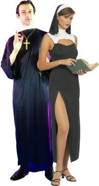 Disfraz de pareja de monja y cura