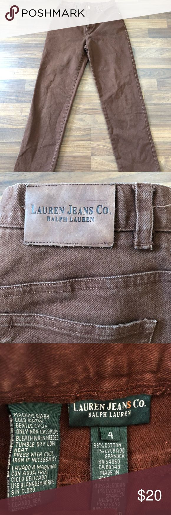 Woman's Ralph Lauren jeans size 4 Woman's Ralph Lauren jeans size 4 in excellent condition. Brown with gold accents. Perfect color combination Polo by Ralph Lauren Jeans Straight Leg