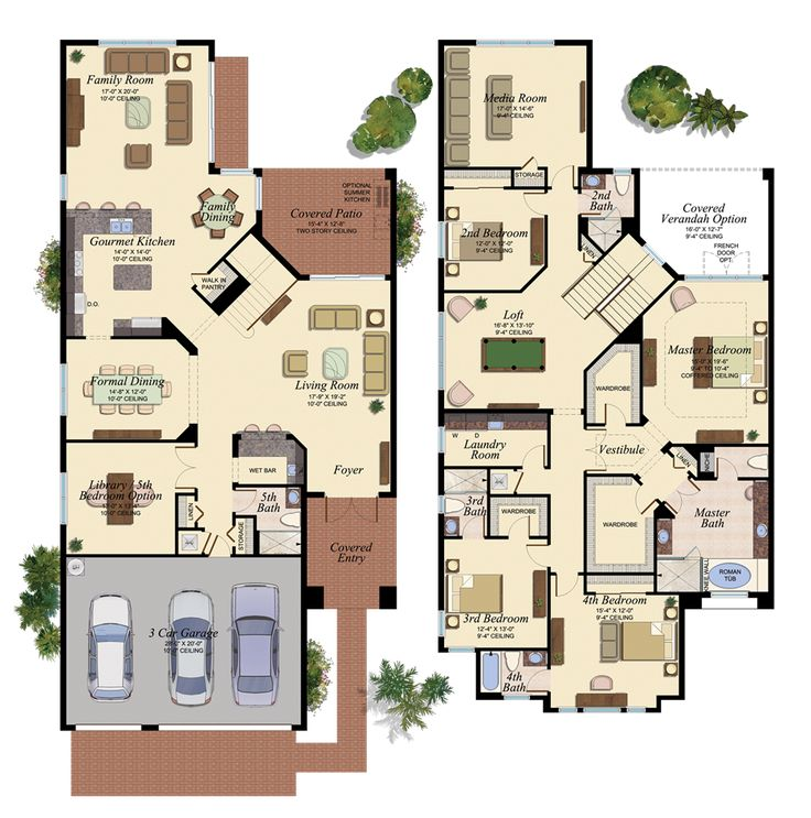Colored floor plan20 dream house plans pinterest for Www house plans com