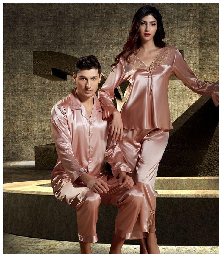 Silk Blend Gorgeous Men Women Sleepwear Sleep Long Tops Pants Pajama Sets Gifts