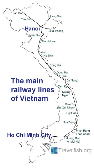 Pretty useful map of the railway network in Vietnam with timetable and price list.