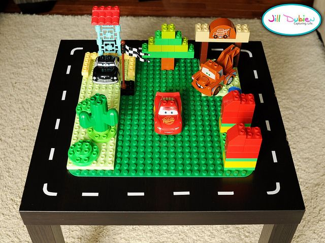 homemade lego and car table great idea i think it would even work with