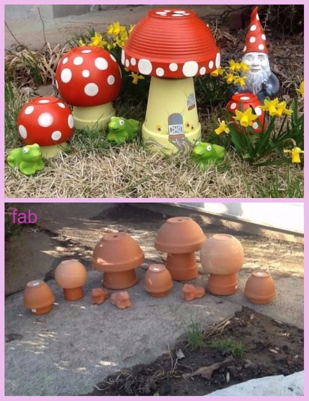 DIY Clay Pot Mushroom Toadstool Tutorials