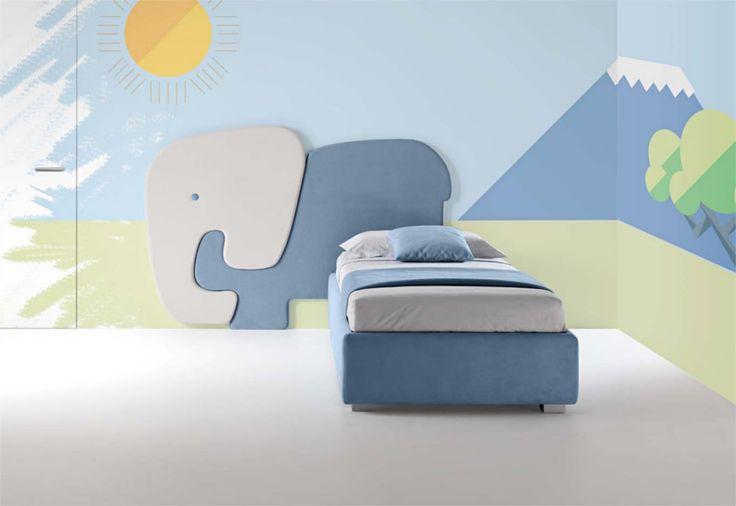 Pannello imbottito a forma di #elefante per parete. #testiera #interiordesign #WallDecor