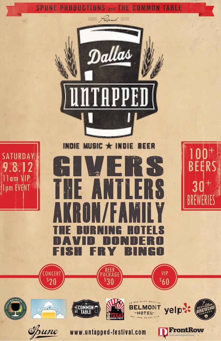 Dallas Untapped Festival Poster 2012 #dallas #2012 #festival