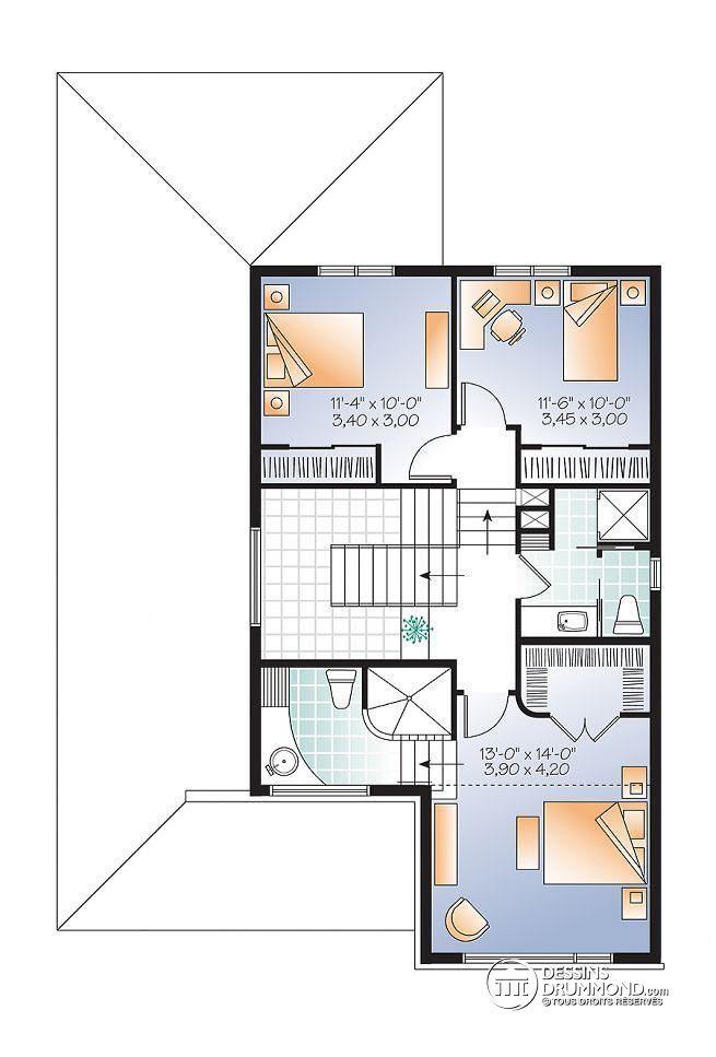 Wonderful Plan De La Cuisine #9: Plan De Étage Modèle Contemporain, 3 à 4 Chambres, Bureau, Foyer, îlot