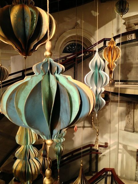 Anthropologie stairwell ornaments at the Philadelphia flagship store