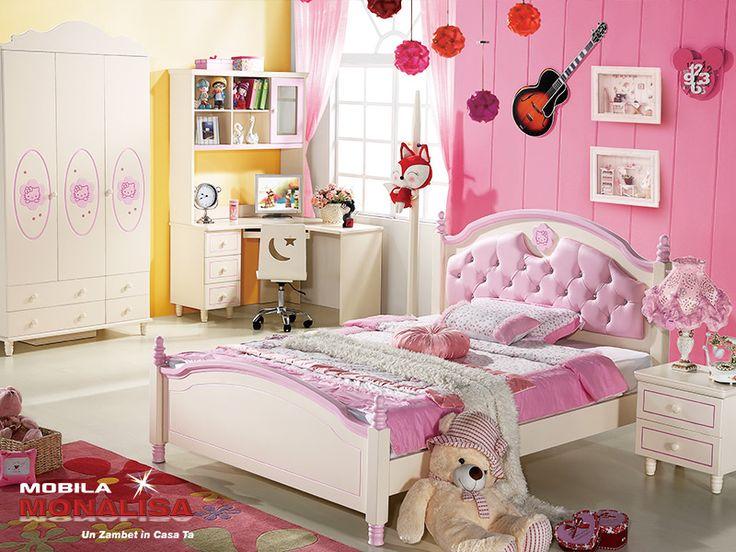 Dormitor Copii fete Hello Kitty   Mobila Dormitoare copii
