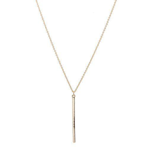 chelseachicNYC Tiny Jewel Minimal Simple Vertical Bar Necklace Gold