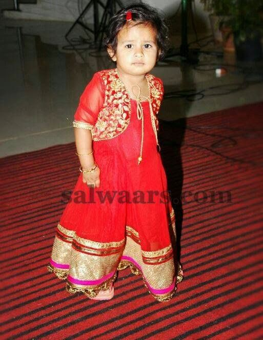 Baby in Red Long Frock | Indian Dresses