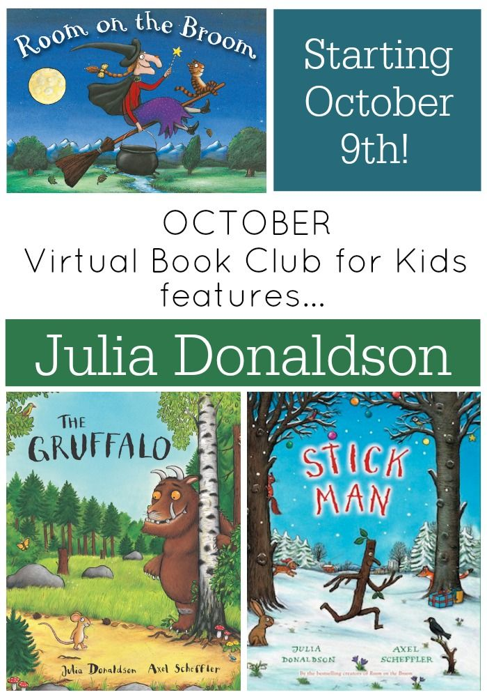 Julia Donaldson October Author featured at the Virtual Book Club for Kids .  Join us October 9th
