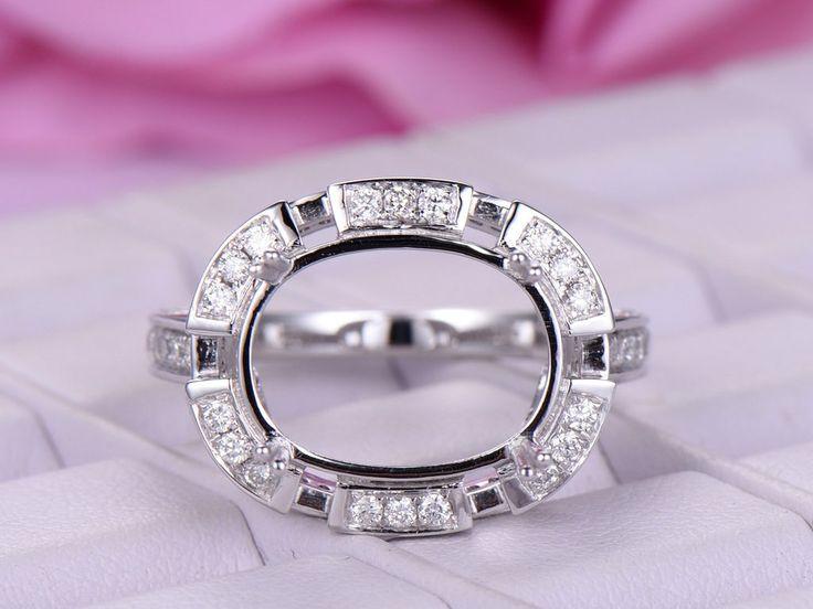 Diamond Engagement Semi Mount Ring 14K White Gold Oval 10x14mm