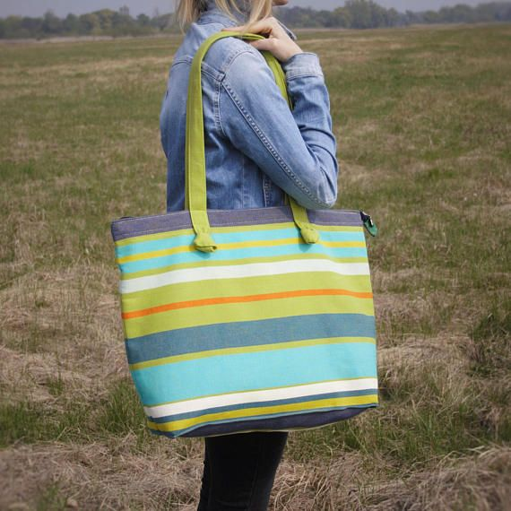 Blue Green Orange Turquoise Tote Beach Bag / Large Cotton