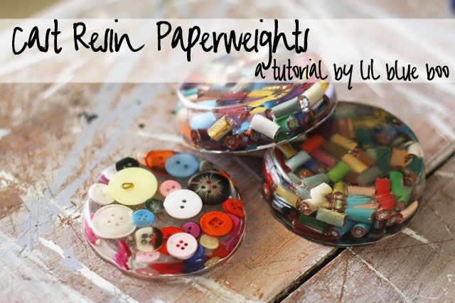 Cast Resin Paperweights & Coasters DIY Tutorial via lilblueboo.com