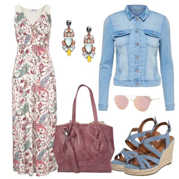Sommer-Outfits: Mandalakleid bei FrauenOutfits.deEin sommerliches Maxikleid für den Alltag. Dazu trägst du eine helle Jeansjacke und passende Keilabsatzsandalen. Sowohl die Handtasche als auch die Sonnenbrille greifen die Rosanote auf und machen damit den Look komplett.