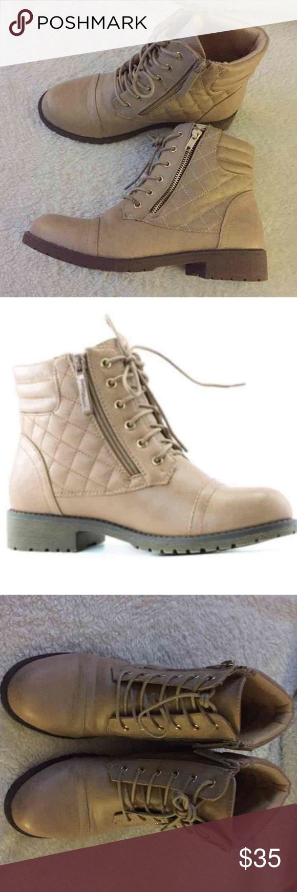 Women's Ankle Boots Size 9 Women's military style combat boots Zipper on both sides- one to unzip shoe and other zipper is a hidden pocket for money/cards etc Only worn a few times Shoes Ankle Boots & Booties