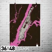"""Manhattan Structures 36""""x48"""" Print Map in Dark/Light $60"""
