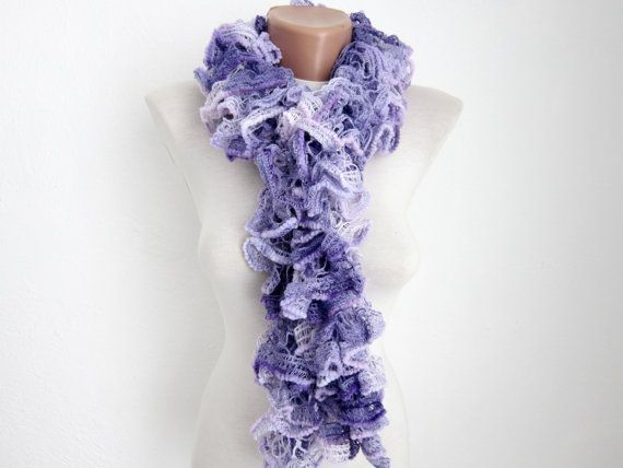Purple Lilac Knit Scarf Fall Fashion Frilly scarf by scarfnurlu