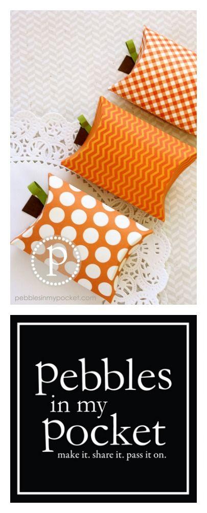 Darling Pumpkin Pillow Boxes.   http://www.pebblesinmypocket.com/2013/08/pumpkin-pillow-boxes.html