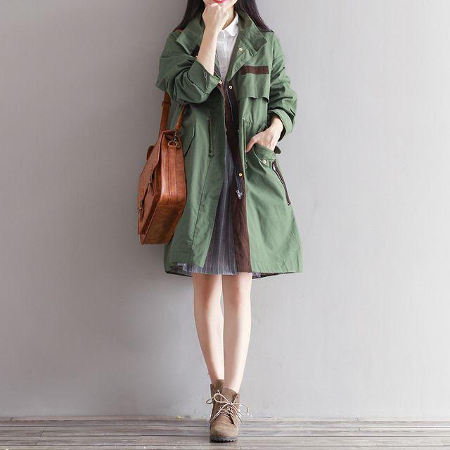 Güz 2016 Yeni Ceket Tiki Tarzı Gevşek Ince Uzun Kollu Rüzgarlık Ordu Yeşil Toz Kat
