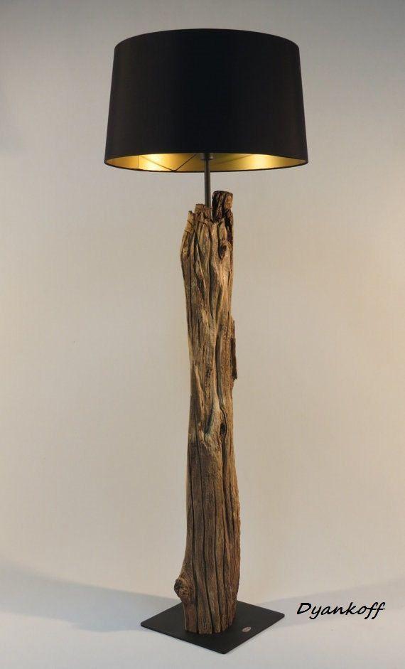 OOAK handmade floor lamp, type wood stand, drum lamp