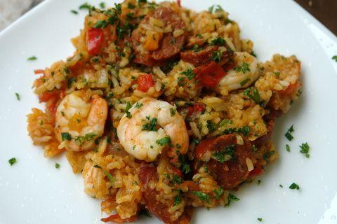 Arroz con chorizo y camarones or rice with chorizo and shrimp